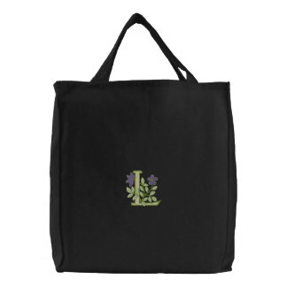 Flower Monogram Initial L Embroidered Tote Bag