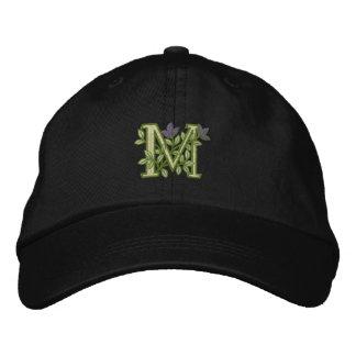 Flower Monogram Initial M Embroidered Baseball Cap
