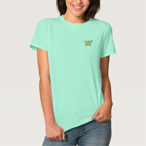 Flower Monogram Initial M Embroidered Shirt