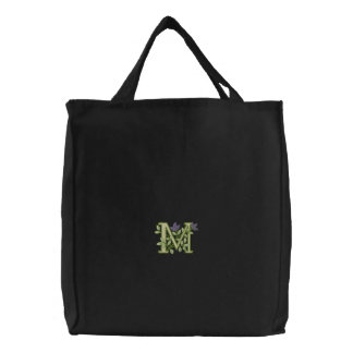 Flower Monogram Initial M Embroidered Tote Bag