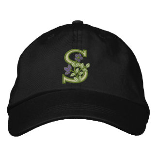 Flower Monogram Initial S Embroidered Baseball Hat