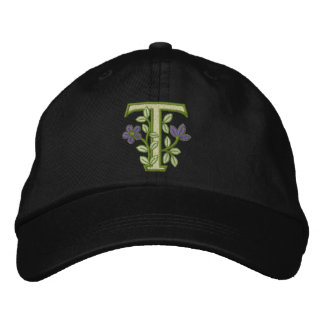 Flower Monogram Initial T Embroidered Hat