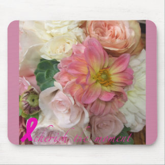 Flower mousepad with breast cancer logo