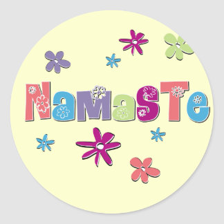 Flower Namaste Yoga Gear Classic Round Sticker
