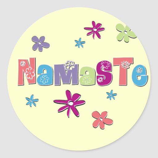Flower Namaste Yoga Gear Round Sticker