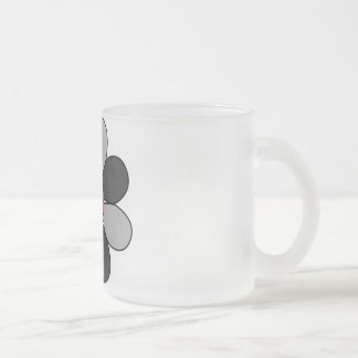 Flower nibbler frosted glass coffee mug