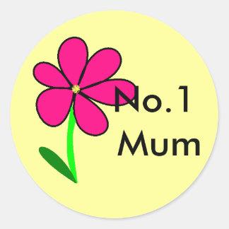 flower, No.1 Mum Classic Round Sticker