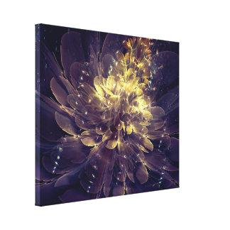 Flower Of Liberty - Golden Blue Flower Canvas Print