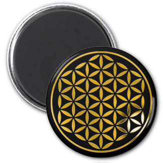 Flower OF Life 1 - gold stamp   black Fridge Magnet