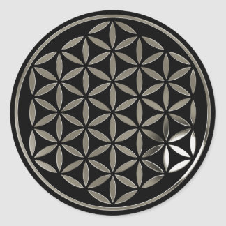 Flower OF Life 1 - Silver stamp   black Classic Round Sticker