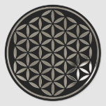 Flower OF Life 1 - Silver stamp | black Classic Round Sticker