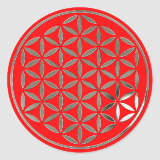 Flower Of Life 1 - Silver stamp fire red Stickers