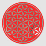 Flower OF Life 1 - Silver stamp | fire talk Classic Round Sticker