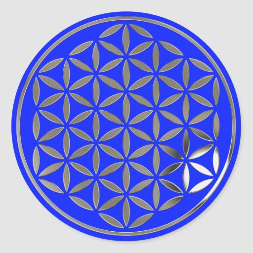 Flower OF Life 1 - Silver stamp | royal Classic Round Sticker