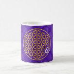 Flower Of Life 1 - stamp | oro violet pattern Taza Básica Blanca