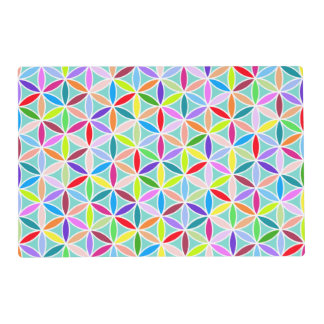 Flower of Life 2-Way Ptn – Multicolored on Blue Placemat