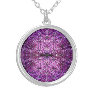 Flower of Life Amethyst Silver Plated Necklace