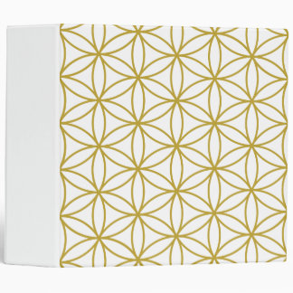 Flower of Life Big Pattern Gold on White 3 Ring Binder