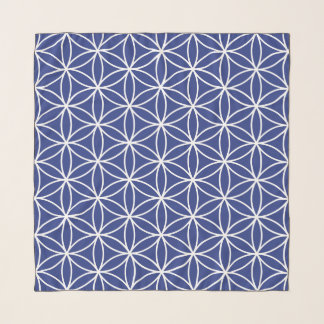 Flower of Life Big Pattern White on Blue Scarf