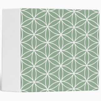 Flower of Life Big Pattern White on Green Binder
