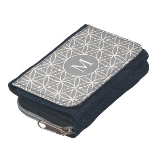 Flower of Life Big Ptn Cream on Grey(Personalized) Wallets