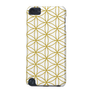 Flower of Life Big Ptn Gold on White iPod Touch (5th Generation) Case