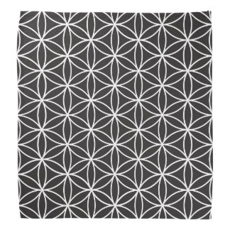 Flower of Life Big Ptn White on Black Bandana