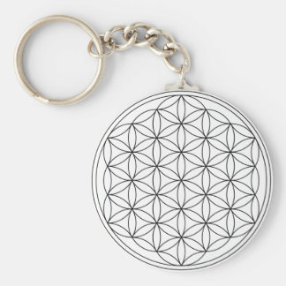 Flower of Life (Black and White) Basic Round Button Keychain