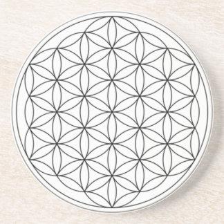 Flower of Life (Black and White) Sandstone Coaster