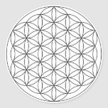 Flower of Life (Black and White) Classic Round Sticker