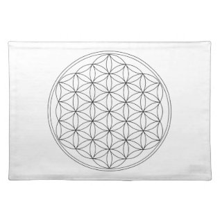 Flower Of Life Black Line Cloth Placemat at Zazzle