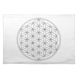 Flower of Life Black Line Cloth Placemat
