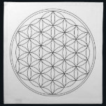 "Flower of Life Black Line Napkin<br><div class=""desc"">The flower of Life is used in all religions. It is considered sacred with healing energy within the symbol. Use for your crystal grids,  sacred altars and for your personal use. Use your intuition to use the design for your particular intention or prayer.</div>"