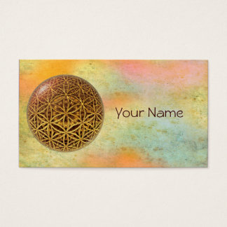 Flower Of Life / Blume des Lebens - ball grid gold Business Card