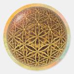 Flower Of Life / Blume des Lebens - ball grid gold Classic Round Sticker