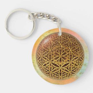 Flower Of Life / Blume des Lebens - ball grid gold Keychain