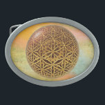 """Flower Of Life / Blume des Lebens - ball grid gold Oval Belt Buckle<br><div class=""""desc"""">Ornament ART by EDDA Fröhlich 