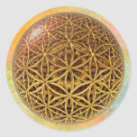 Flower Of Life / Blume des Lebens - ball grid gold Classic Round Sticker