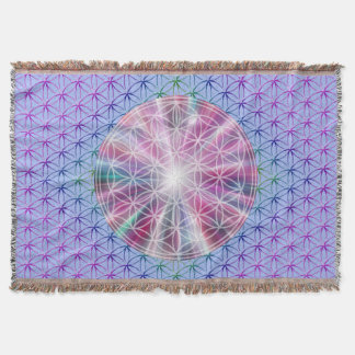 Flower Of Life / Blume des Lebens - Button VII Throw Blanket
