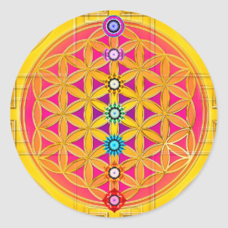 FLOWER OF LIFE / Blume des Lebens - chakras Classic Round Sticker