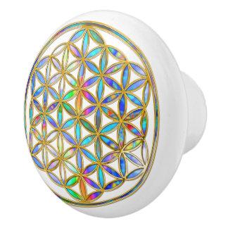 Flower Of Life / Blume des Lebens - colorful shine Ceramic Knob