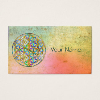Flower of Life / Blume des Lebens - gold colorful Business Card