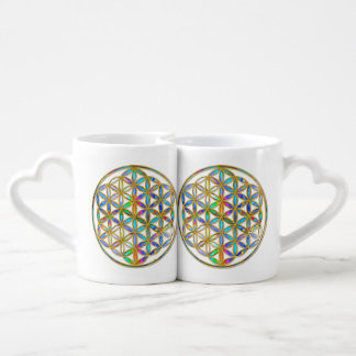 Flower of Life / Blume des Lebens - gold colorful Couples Coffee Mug