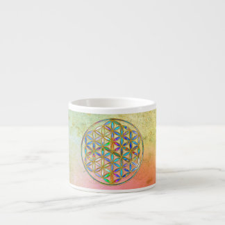 Flower of Life / Blume des Lebens - gold colorful Espresso Cup