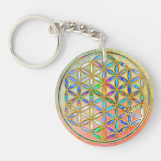 Flower of Life / Blume des Lebens - gold colorful Keychain