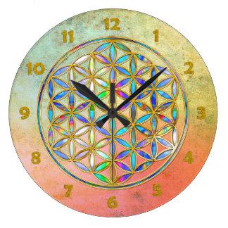 Flower of Life / Blume des Lebens - gold colorful Large Clock