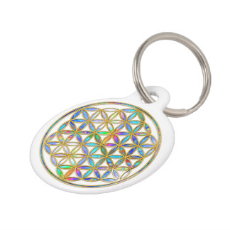 Flower of Life / Blume des Lebens - gold colorful Pet ID Tag