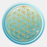 Flower Of Life / Blume des Lebens - GOLD cyan Sticker