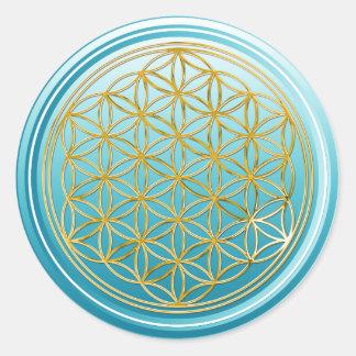 Flower Of Life / Blume des Lebens - GOLD cyan Classic Round Sticker