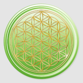 Flower Of Life / Blume des Lebens - GOLD green Classic Round Sticker